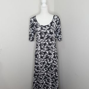 LulaRoe White and Black Ana Maxi Dress